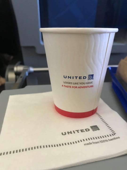 "The coffee cups on United's ""Flight for the Planet"" were recyclable and the napkins were made of bamboo."
