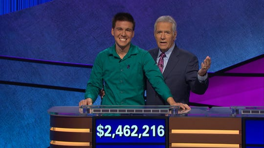 "Former ""Jeopardy!"" champ James Holzhauer and host Alex Trebek."