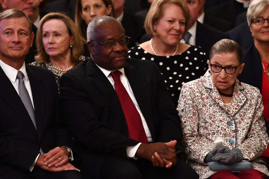 Supreme Court Associate Justices Clarence Thomas and Ruth Bader Ginsburg are friendly on the bench, but like most of their colleagues they have sniped at each other in this term's opinions.
