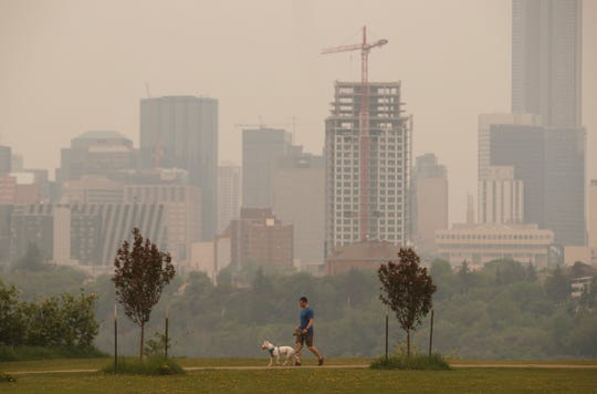 A person walks their dog as smoke blankets the city from nearby wildfires,  in Edmonton, Alberta, Canada on Thursday, May 30, 2019. More people are being forced from their homes as several wildfires rage out-of-control in northern Alberta and blanket areas to the south in an acrid haze.