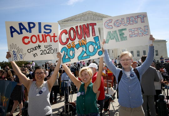 Demonstrators protested outside the Supreme Court during oral arguments in April on the Trump administration's effort to add a question on citizenship to the 2020 census.