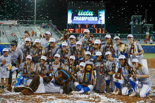 UCLA celebrates after winning the national championship.