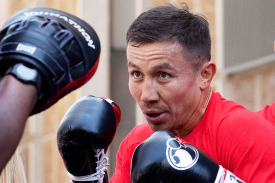 Gennady Golovkin, of Kazakhstan, boxes during a workout in New York. Golovkin faces Steve Rolls, of Canada, in a middleweight bout on June 8, 2019.