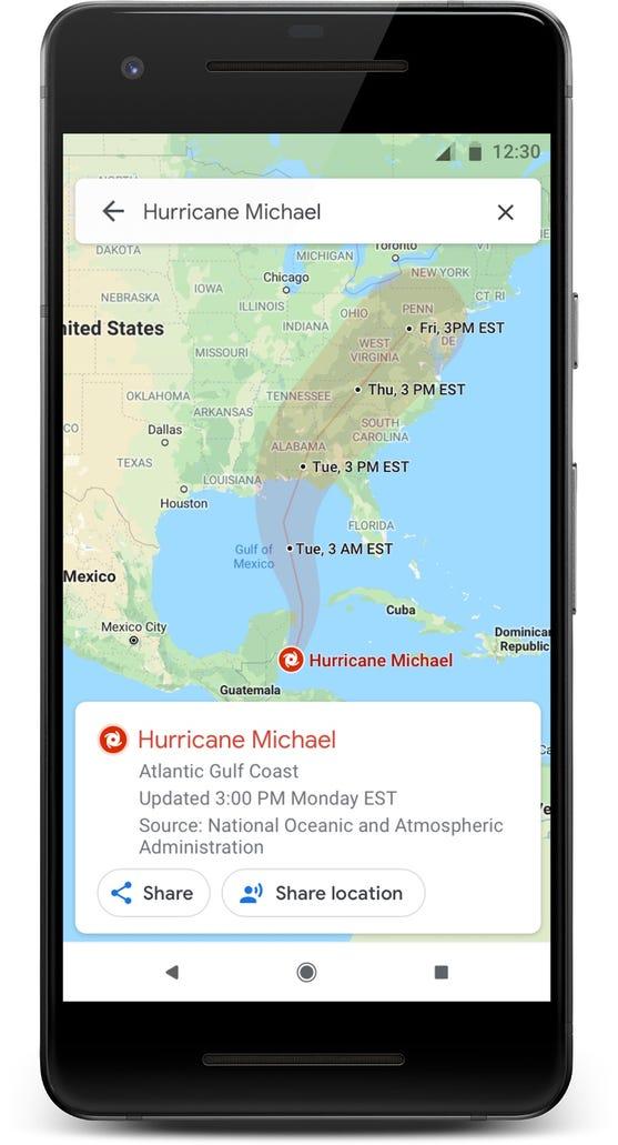 Google Maps can help you trace a hurricane's path.