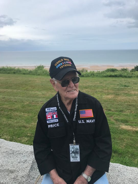 Buck Price was helmsman of one of the landing ships that ferried supplies ashore to Omaha Beach in France on D-Day in 1944. Price, now 93, returned to Normandy this week for the 75th anniversary of D-Day