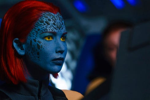 Jennifer Lawrence, who plays as a blue-skinned shapeshifter in