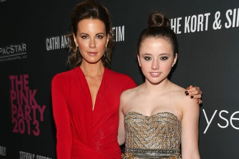 Acress Kate Beckinsale with her daughter, Lily Mo Sheen, in 2013. The duo had an interesting text exchange which mom shared on social media.