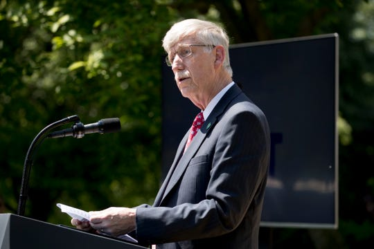 National Institutes of Health Francis Collins speaks at the Rose Garden of the White House, Tuesday, May 7, 2019, in Washington. The Trump administration is ending the medical research by government scientists using human fetal tissue.