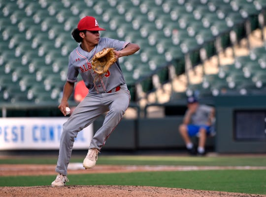 Albany pitcher Ben West winds up early in Wednesday's Class 2A semifinal game against Big Sandy in Round Rock June 5, 2019. Big Sandy won, 4-1.