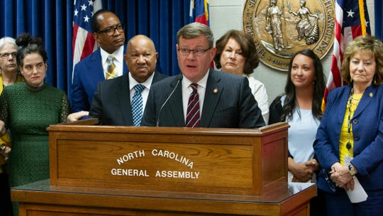 "House Speaker Tim Moore leads a press conference touting the ""Born Alive Abortion Survivors Act"" with penalties for doctors who commit what bill supporters call infanticide on June 5, 2019, at the NC Legislative Building in Raleigh. The bill passes only if the NC House votes to override Gov. Roy Cooper's veto."