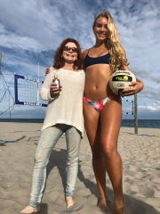 Star Body founder Barbara Mekolites Marich, left, with volleyball player and model Olivia Duval, who uses Star Body's product, Espresso Yourself Bronzing Body Oil.