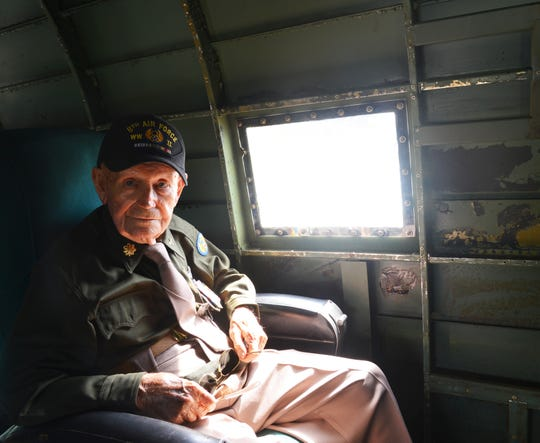 Titusville resident Joseph Reus, 96, an Army Air Corps B-24 Liberator bomber navigator during World War II, buckles up for a flight aboard Tico Belle on the 75th anniversary of D-Day at Space Coast Regional Airport.
