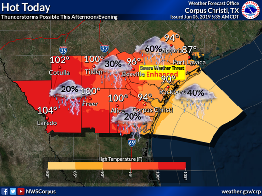 Hot temperatures and thunderstorms will be possible Thursday, according to the National Weather Service.