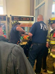 Firefighters respond to a highly unusual call in Blackwood, where a child became trapped inside a claw game.