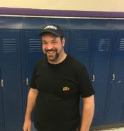 Jonathan Greenstein of Mount Laurel wears his 'Jeopardy!' hat at Camden High, where he is a social studies teacher. Greenstein competed on the show in an episode airing June 5 but he taped the show in March, immediately following James Holzhauer's 32-game streak.
