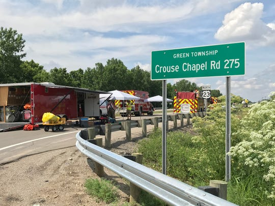 U.S. 23 North at Crouse Chapel Road was closed about an hour on Thursday as a hazardous materials crew checked a tanker truck stopped by a trooper due to a chemical odor. Crews didn't find a leak but did secure an open hatch on top of the tank.