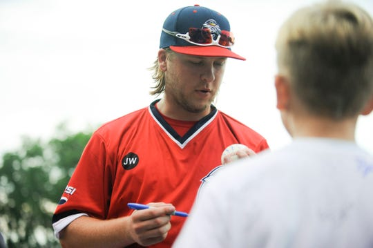 Chillicothe Paints outfielder signs autographs for fans in the Paints 5-3 loss to Terre Haute on June 5, 2019. Smith has been one of the hottest bats for the Paints and in the entire Prospect League so far this season.