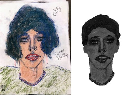 One of the U.S.'s deadliest serial killers confessed to killing two Cincinnati women, including the woman drawn here, whose name is unknown.