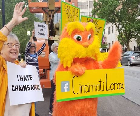 The Cincinnati Lorax became the face of a fight against Western & Southern's request to cut down four 50-year-old London Plane trees located along Fourth Street in Lytle Park.