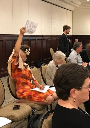 Concerned resident Loa Bennett made signs opposing the pollution standards changes during the Ohio River Valley Water Sanitation Commission meeting.