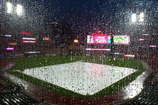 Jun 5, 2019; St. Louis, MO, USA; A view of Busch Stadium during a rain delay prior to the start of a game between the St. Louis Cardinals and the Cincinnati Reds. Mandatory Credit: Jeff Curry-USA TODAY Sports