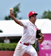 Brett Holladay looks to make a pickoff throw to first base for Beechwood at the 2019 KHSAA state baseball championship quarterfinals at Whitaker Bank Ballpark in Lexington, Kentucky, June 5, 2019.