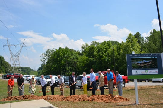 Pictured from left to right with shovels are: County Commissioner Ricky Ray; County Commissioner David Harper; Laurina Lane; DBS & Associates President David Smith; County Commissioner Joe Creek; Lane Lyle; Mayor Durrett; Becky Bourne; Hampton Bourne; Frank Lott; Jerry Allbert and B.R. Miller and Company Owner Mike Boisseau.