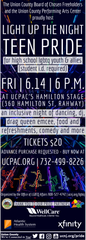 The second annual Union County Light Up The Night TEEN PRIDE event for LGBTQ and ally high school students will be held from 6 to 10 p.m.on Friday, June 14, at Hamilton Stage, 360 Hamilton St.in Rahway.