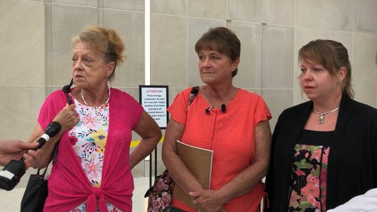 Leslie Morningstar, Laura Morningstar and Sarah Ellsworth speak with reporters after Vernon Huser's plea hearing on Thursday, June 6, 2019 at the Polk County Criminal Courthouse.