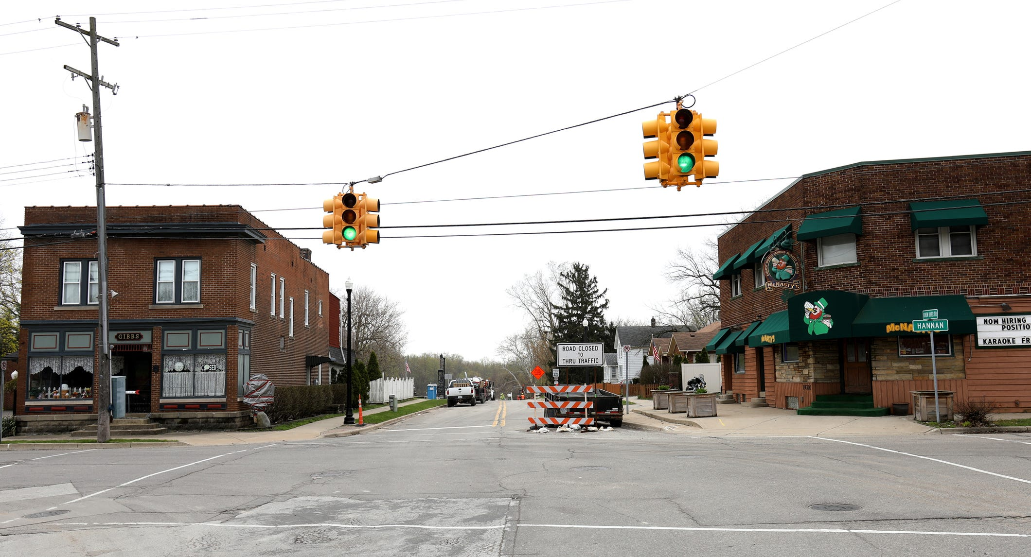 Businesses in downtown New Boston in western Wayne County have suffered since the closure of the Waltz Road Bridge into town two years ago. This shot is from April.