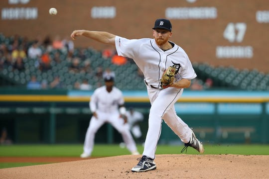Detroit Tigers starting pitcher Spencer Turnbull throws during the first inning against the Tampa Bay Rays, Wednesday, June 5, 2019, in Detroit.