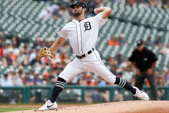 Tigers starting pitcher Daniel Norris throws the ball during the first inning on Thursday, June 6, 2019, at Comerica Park.