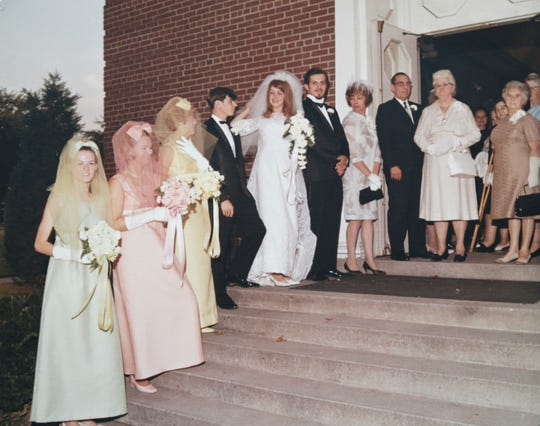 Mary Silvani, far left, is a bridesmaid for friend Nancy Cumming in Detroit in 1968. Silvani was killed in Nevada in 1982 and was known as a Jane Doe for 37 years. Cumming did not learn about Silvani's death until reading about it in the Free Press in May 2019.