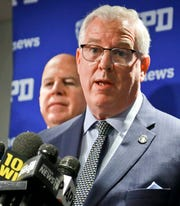 New York Police Commissioner James O'Neill, left, and Deputy Commissioner John Miller, right.