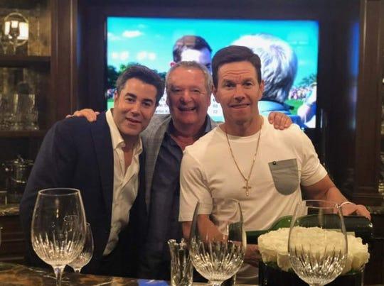 Jay Feldman, left, Nino Cutraro and Mark Wahlberg celebrate Mark's birthday in Beverly Hills, California.