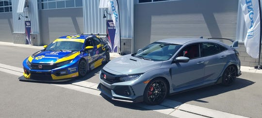 The Honda Civic Type-R TCR race car, left, is derived from the Civic Type-R production car, right. Racing provides good mechanical feedback to Honda engineers - and helps promote the brand's performance image.