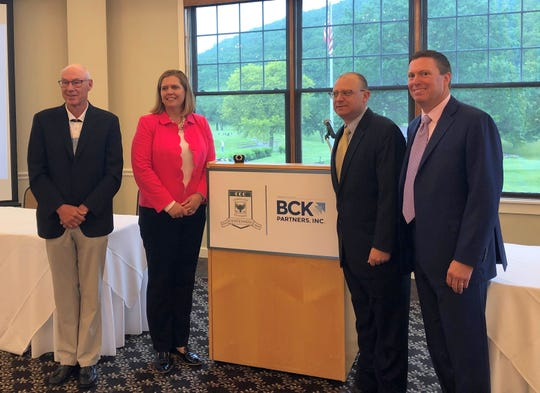 It was announced June 6, 2019 at Corning Country Club that BCK Partners Inc. will be the presenting sponsor for the club's 100th anniversary celebration and its Legends Shoot Out and Pro-Am events in July. From left, Corning Country Club President Kirk Gregg and BCK co-founders/principals Sarah Creath, Michael Bono and Jamie Kaffenbarger.