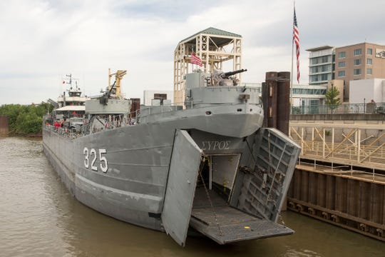 The LST 325 docked in its future home Evansville's Riverfront for the LST 325 Commemoration on the 75th Anniversary of D-Day Thursday, June 6, 2019.