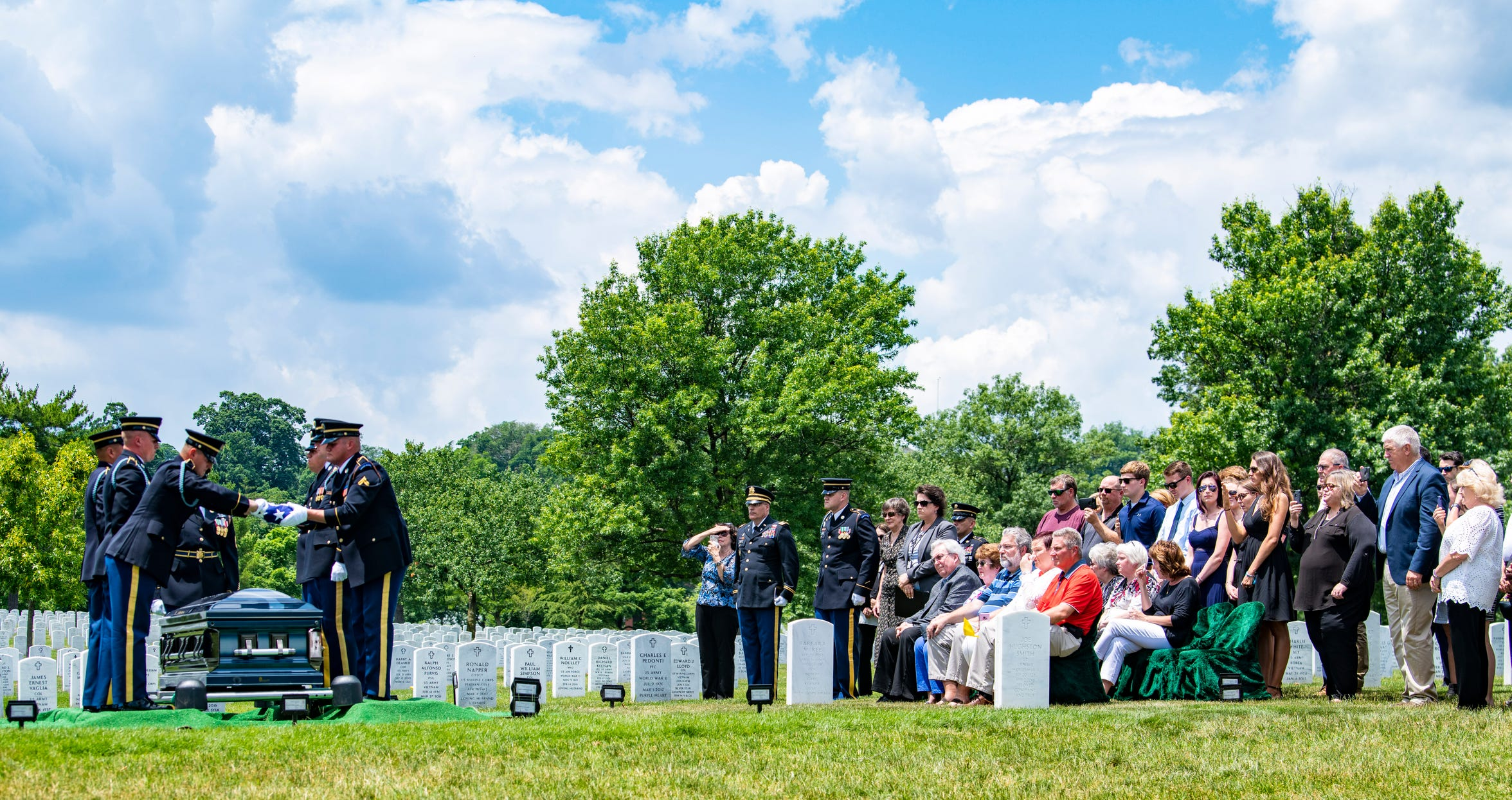 U.S. Army World War II veteran Carl Mann of Evansville, Ind., is buried at Arlington National Cemetery on June 6, 2019 in Arlington, VA. For his service in World War II, Mann was awarded three Purple Hearts and seven Bronze Stars. Mann died on March 30, 2019 at the age of 96.