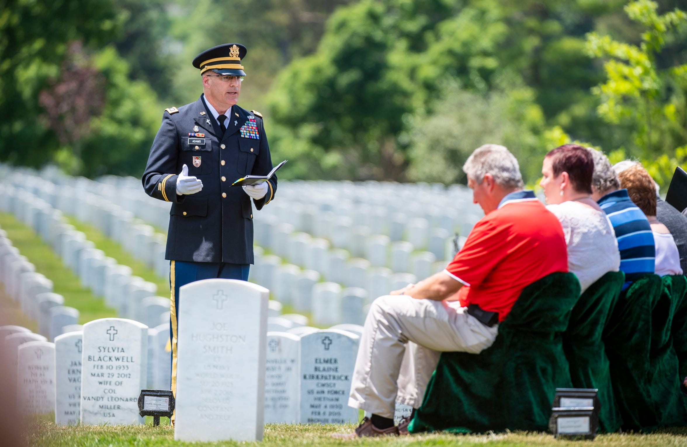 U.S. Army World War II veteran Carl Mann of Evansville, Ind., is buried at Arlington National Cemetery on June 6, 2019 in Arlington, VA.