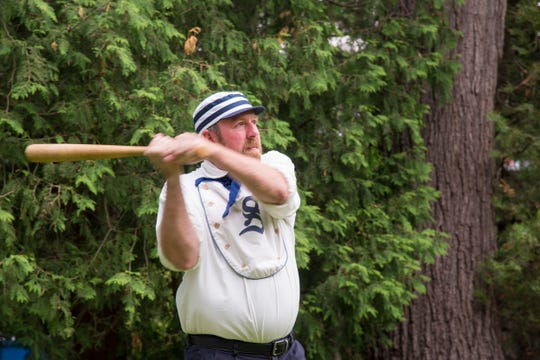 The Spiegel Grove Squires, the vintage base ball team at the Hayes Presidential Library & Museums, will take on local celebrities on Sunday, June 9, during the annual all-star game. In this file photo, a Squire is up to bat.
