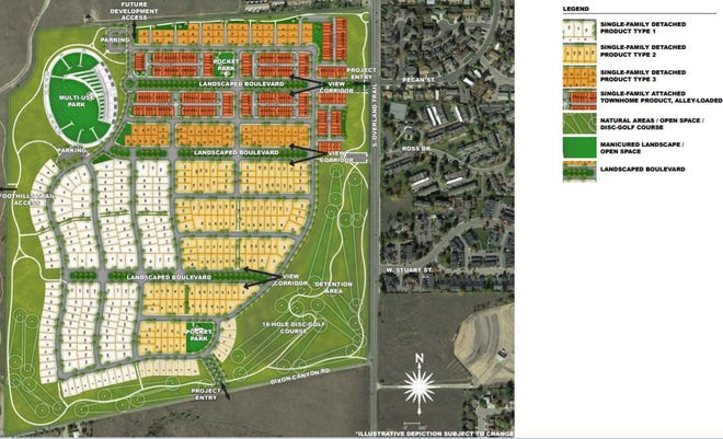 A sketch plan for a development on the former Hughes Stadium site shows housing types and a park in the footprint of the demolished stadium. The sketch is preliminary. No formal plan has been submitted to the city of Fort Collins yet.