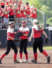 Pulaski players celebrate their 1-0 win over Wilmot at the WIAA Division 1 state tournament on Thursday.