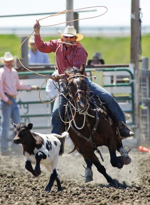 Wolf Creek roper Sam Levine is always a contender for championships and will be throwing loops Saturday afternoon in both the tie-down roping and team roping at the 79th annual Conrad Whoop-Up Trail Days Rodeo.