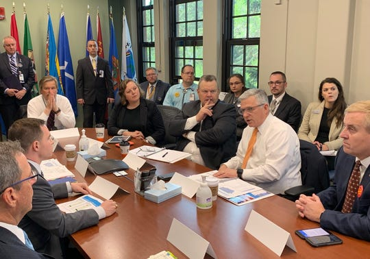 Sen. Jon Tester was joined by Dr. Richard Stone, the head of the Veterans Health Administration and James Gfrerer, Assistant Secretary for Information and Technology when they met Thursday with local VA personnel.