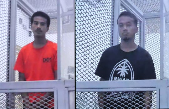 Emmanuel Reselap, left, and Jordan Rachulap, right, appear in court via video conference for their first court hearing while they are detained at the Department of Corrections on Thursday, June 6, 2019. Both men are charged in a machete assault in Mangilao.