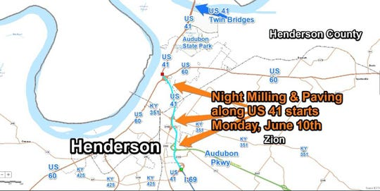 A contractor for the Kentucky Transportation Cabinet plans night milling and paving along a section of US 41 at Henderson starting Monday, June 10, 2019.