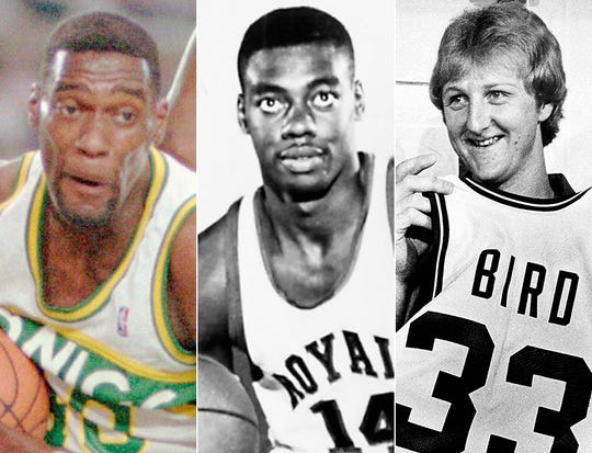 Shawn Kemp (from left), Oscar Robertson and Larry Bird.