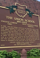A historical marker notes the oddity of the Union School, which straddles the Ohio-Indiana state line.