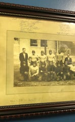 A photograph of the Infamous 1926 College Corner High School football team that was caught cheating and banned for 100 years in Ohio. It was the last varsity football team school the school had.
